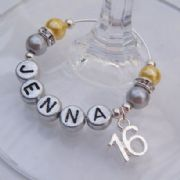 16th Birthday Personalised Wine Glass Charm - Elegance Style